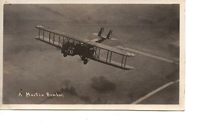 Martin Bomber ~ Wwi World War I ~ Air Force ~ In Flight Airplane  Rppc 80