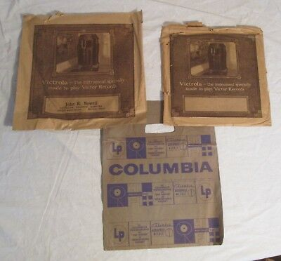 "Three RECORD STORE BAGS for 10"" & 12"" Records -- Two VICTROLA, One COLUMBIA"