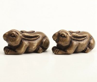 2 Unique Chinese Bronze Statue Figurines Rabbit Solid Cast Gifts Collection Gift