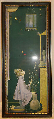 Antique Framed Art Deco India Hindu Print Religious Female Praying to Goddess