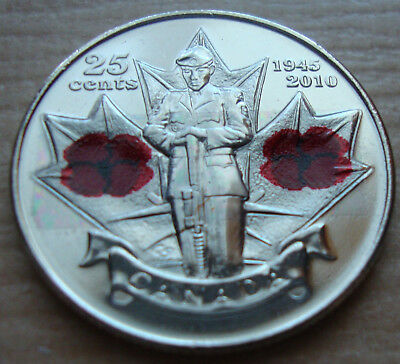 "🍁Kanada 25 cent 2010 ""Remembrance Day"" Mohn Blume Farbe UNC/Bankfrisch!🍁"