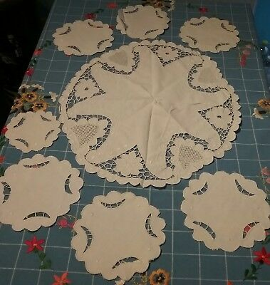 VINTAGE CROCHET LACE, LOT of 8, INCLUDING round Tablecloth + 7 Doillies, LOVELY