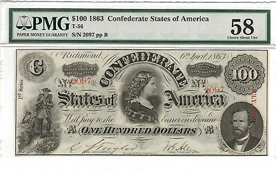 Confederate 1863 $100 note, Choice About Unc 58 PMG graded