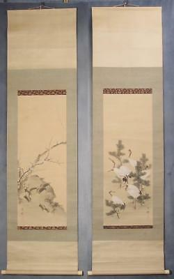 #1115 Japanese Twin Hanging Scrolls: Crane and Turtle