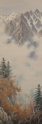 #1117 Japanese Hanging Scroll: Winter Mountain Landscape