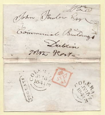 1841 WITH HASTE Wrapper to DUBLIN,Ireland TOO LATE, Framed No. 2 Receiving House