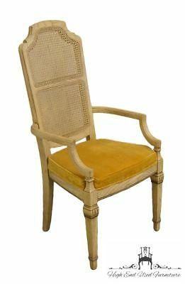 STANLEY FURNITURE French Provincial Antique White Cane Back Dining Arm Chair ...