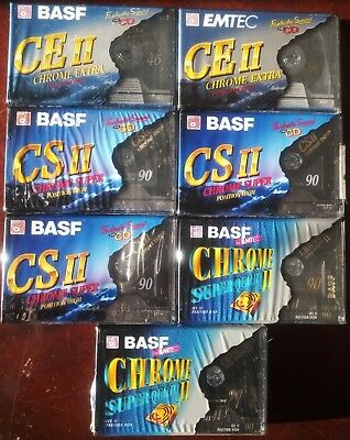 7 x BASF EMTEC CHROME EXTRA SUPER 60+90 (type II) - CASSETTE TAPES BLANK SEALED