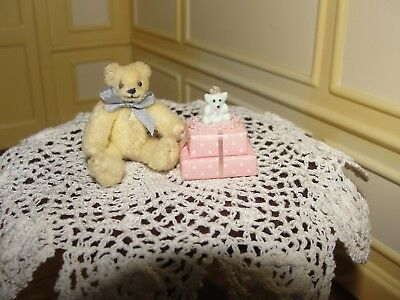 Dollhouse Miniature Jointed Toy Teddy Bear w Gift