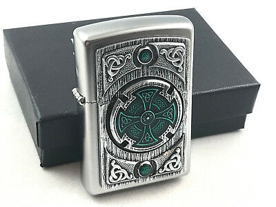 ZIPPO Celtic Green Cross Wheel Emblem lighter rare collectible lighter