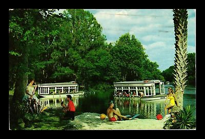 Dr Jim Stamps Us Silver Springs Florida Glass Bottom Boats Chrome View Postcard