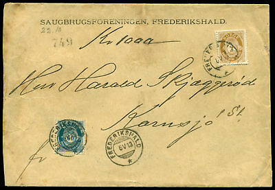 Sa489 Norway 1913. Yvert #47, 57. Cover. Bicolor Postage.
