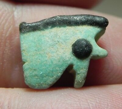 ZURQIEH -as10368- ANCIENT EGYPT , FAIENCE UDJAT EYE AMULET , 600 - 300 B.C