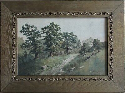Early 20th C American Watercolor Painting Landscape 1902 in Arts & Crafts Frame