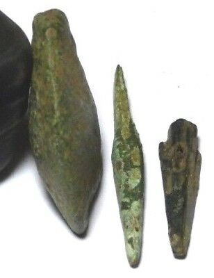 Lot Of 3 X Rare Bronze Age Tools Awl Arrow Head Partial Axe Head 3000 Years Old