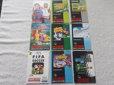 9 X Super Nintendo Instruction Manuals Mint