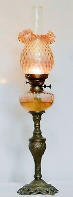 Rococo Style Amber Glass Oil Lamp Reservoir on a Pierced Gilt Metal Base - 33""