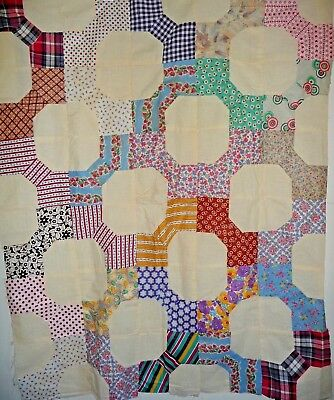 Vintage Bow Tie Quilt Top  Feedsacks 1930-50's