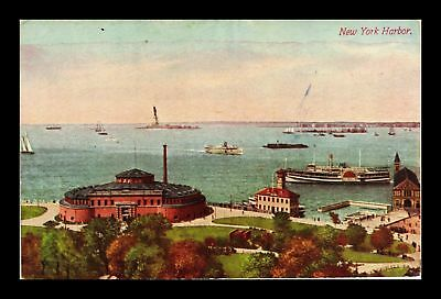 Dr Jim Stamps Us View Of New York Harbor Showing Aquarium Battery Park Postcard