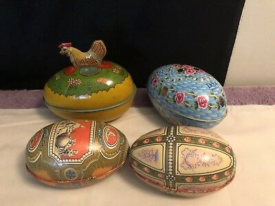 4 Vintage Tin Easter Egg, Chein Easter egg candy container with chicken