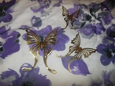 Homco Home Interior Butterfly Set 3 Piece Wood Body Gold Metal Wall Hanging