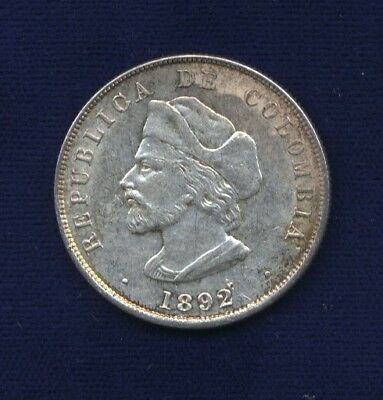 """Colombia   1892   50 Centavos  """"columbus"""" Silver Coin, Almost Uncirculated"""