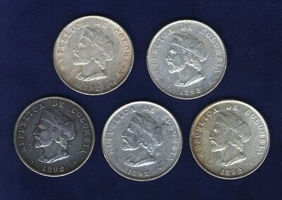 """Colombia   1892   50 Centavos  """"columbus""""  Silver Coins, Group Lot Of (5)"""
