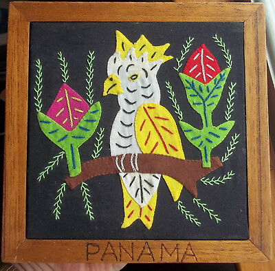"Framed MOLA Bird flowers 6 x 6"" in frame reverse applique, handmade"