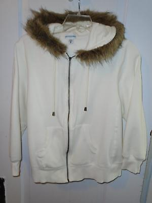 Maternity Zip Up Hooded Jacket Sz XL Ivory Faux Fur Trim Motherhood Maternity