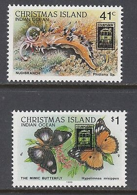 CHRISTMAS ISLAND 1989 STAMPSHOW OVERPRINT set of 2, Mint Never Hinged