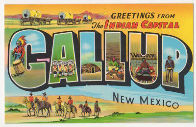 Gallup New Mexico c1950's Covered Wagons, Native Americans, vintage Greetings pc