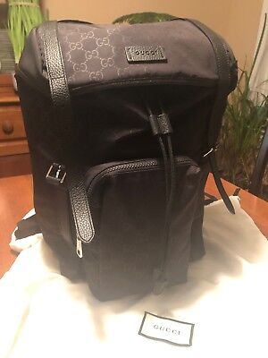 Gucci GG Black Nylon Drawstring Backpack W/ Black Leather Trim EUC W/ Dust Bag