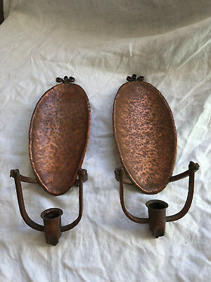 Vintage Pair of Arts and Crafts Hammered Copper Candle Wall Sconces