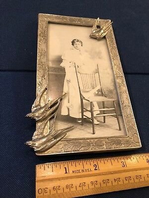 Chrome/  PEWTER PICTURE FRAME WITH THREE BIRDS AND FLOWERS Art nouveau