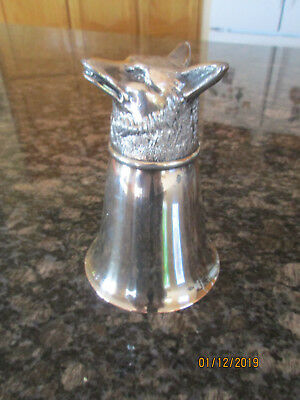 Vintage Fox Head Silver Plate Stirrup Cup