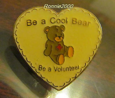 BE A COOL BEAR VOLUNTEER American Red Cross pin  REDUCED