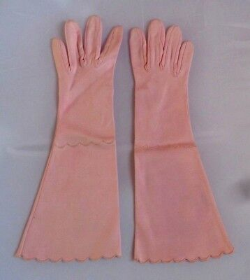 Christian Dior Shalimar Vintage Pink Scalloped Gloves, Prom
