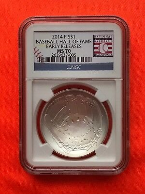 2014 Hof Silver National Baseball Hall Of Fame Unc Silver Coin Ms70 Nr Ms 70