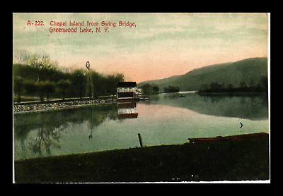 Dr Jim Stamps Us Chapel Island Swing Bridge Greenwood Lake New York Postcard
