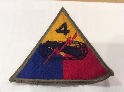 US WWII 4th Armored Division Patch Cut Edge Original WW2 Mose Collection NICE QQ