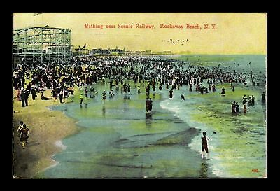 Dr Jim Stamps Us Bathing Scenic Railroad Rockaway Beach New York Postcard