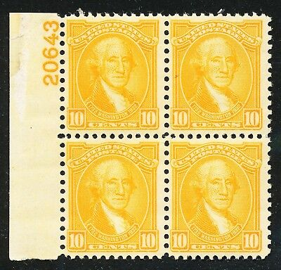 Dr Jim Stamps Us Scott 715 10C Washington Bicentennial Plate Block Og Nh