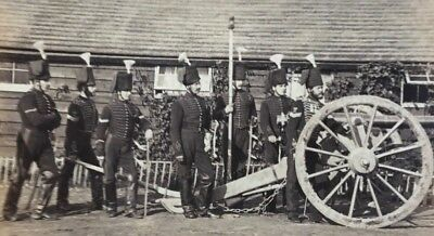 GRENADIER GUARDS: 8 ARMED GUARDS w/ CANNON*Huge VINTAGE 1860s Albumen Photograph