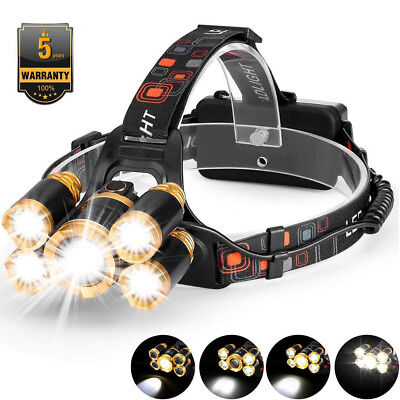 BRIGHT 80000LM 5-LED Zoom LED Rechargeable Headlamp Head Light Torch Flashlights