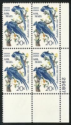 Dr Jim Stamps Us Scott C71 20C Audubon Air Mail Plate Block Og Nh No Reserve