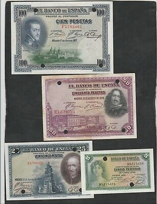 a Group of 4 Banknotes From Spain Cancelled