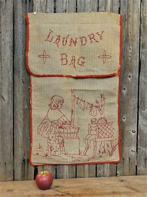 Rare Antique Hand Stitched Red Child's Linen Laundry Sack AAFA
