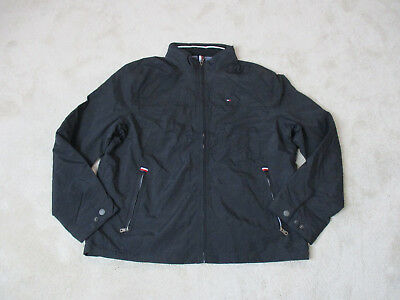 NEW Tommy Hilfiger Jacket Adult Extra Large Black Gray Flag Spell Out Sailing A3