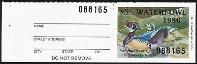 Dr Jim Stamps Us State Duck W/tab Missouri 1980 $3 Unused Og Nh No Reserve