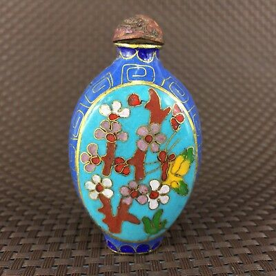 Collectible Antique old Cloisonne Handwork Chinese plum blossom Snuff Bottle